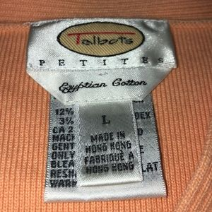 Talbots Sweaters - TALBOT'S Egyptian Cotton V-Neck Peach Sweater LP